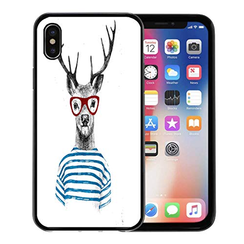 Emvency Phone Case for Apple iPhone Xs case,Animal Hand Drawn Dressed Up Deer in Hipster Pattern Sketch Glasses for iPhone X Case,Rubber Border Protective Case,Black