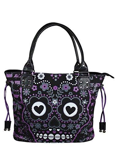 Banned Striped Purple Sugar Skull Handbag