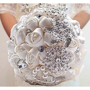YOYOYU Luxury Gorgeous Wedding Bridal Bouquets Elegant Pearl Bride Flower Wedding Bouquet Handmade Crystal Ribbon Weaths W-228 72