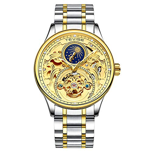 CIGOO TEVISE T820A Business Men Automatic Mechanical Watch Moon Phase Time Display Fashion Casual Stainless Steel Strap 3ATM Waterproof Male Wristwatch