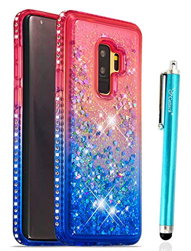 Diamond Samsung - for S9 Plus Case Galaxy S9 Plus Case, Cattech Glitter Liquid Floating Flowing Sparkle Flexible TPU Bling Diamond Slim Clear Soft TPU Cover Protective for Samsung Galaxy S9 Plus + Stylus (Pink/Blue)
