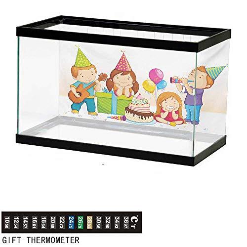 wwwhsl Aquarium Background,Kids Birthday,Colorful Kindergarten Party Cone Hats Cake Boxes Music Celebration Print,Multicolor Fish Tank Backdrop 36