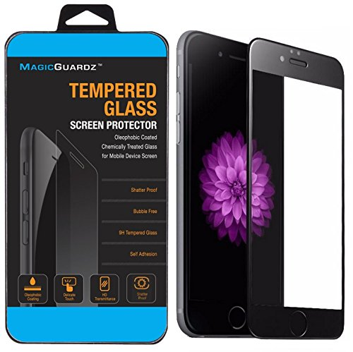 MagicGuardz®, Made for Apple 5.5 iPhone 6 Plus and iPhone 6S Plus, 3D Full Cover Tempered Glass Carbon Fiber Screen Protector (Black)