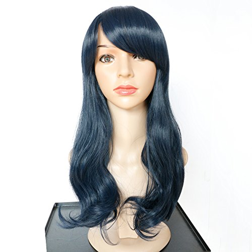 [Navy Blue Wigs-Charming Female Navy Blue Long Curly Synthetic Wigs] (Beard Long Hair Costume Ideas)