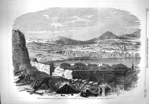 old-print Print 1861 Gaeta National Army Batteries Citadel War