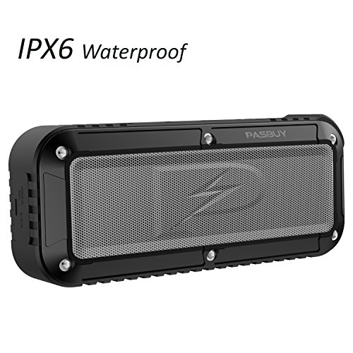 PASBUY P8X Portable Wireless Bluetooth Speaker, 10 Hour Playtime IPX6 Water Resistant Shower Strong Bass FM Radio Dual Speakers with Microphone for Home Outdoors Travel