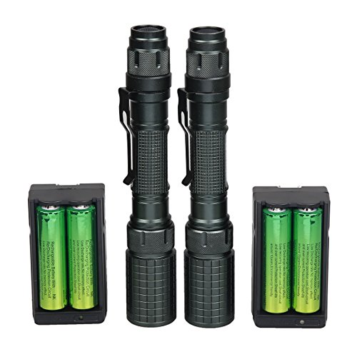 2 Pack Bright T6 led Flashlight included Battery and charger 5 Modes waterproof zoomable Military flashlight Best High Lumen Camping, Outdoor, Emergency, Everyday Flashlights Over 10000 Users Choice!