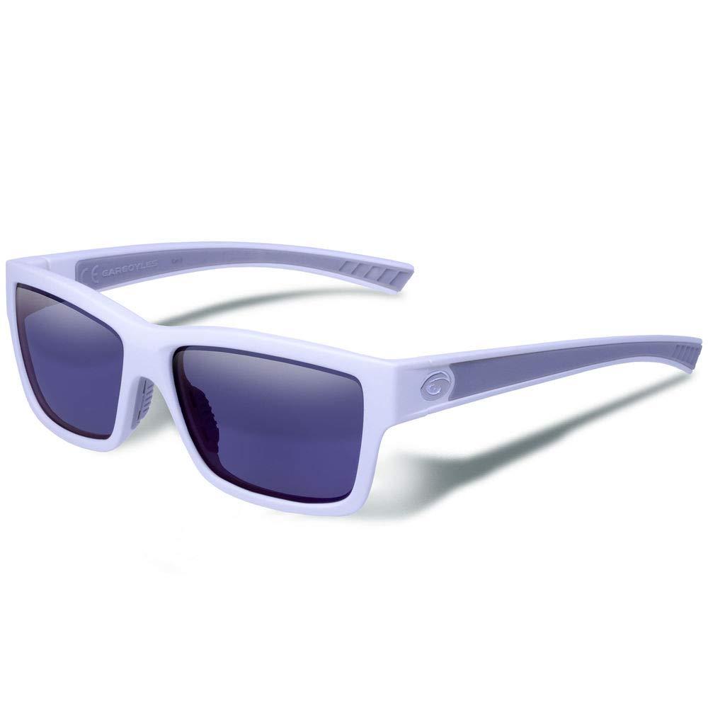 Gargoyles Performance Eyewear Homeland Polarized Glasses, Matte White Frame/Smoke with Blue Mirror Lenses