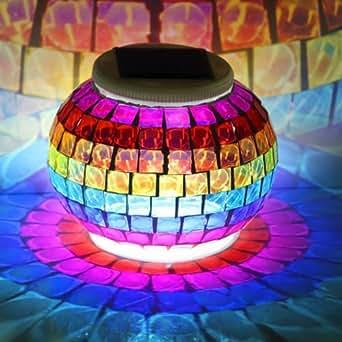 Mosaic Glass Ball LED Night Light Desk Table Lamp Solar Patio Romantic Tea Light