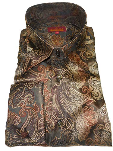 SANGI 2014 Mens Shades of Brown Paisley High Collar French Cuff Shirt Rome Collection (XLarge)