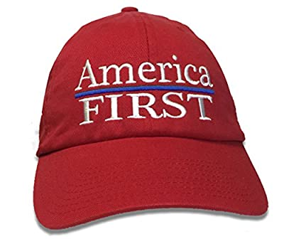 America First Trump '45' President Red Hat Embroidery 100% Cotton Inauguration Cap Adjustable USA MADE HAT