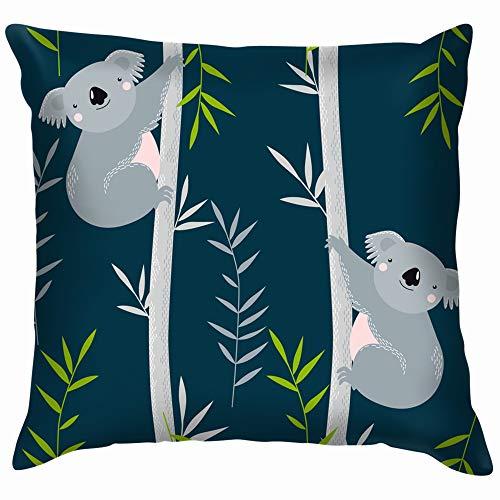 Koalas On Trees Cartoon Animals Wildlife Koala Funny Square Throw Pillow Cases Cushion Cover for Bedroom Living Room Decorative 26X26 Inch -