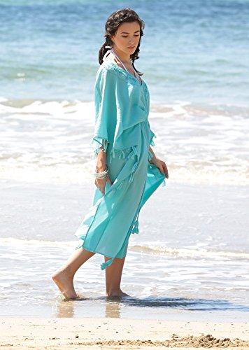 Robe Caftan en coton garni de glands et à détail brodé main