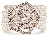 Zking Art Deco Bracelet Gatsby 5 Rows Fashion Faux Pearl Elastic Bangle 20s Flapper Accessories Jewelry