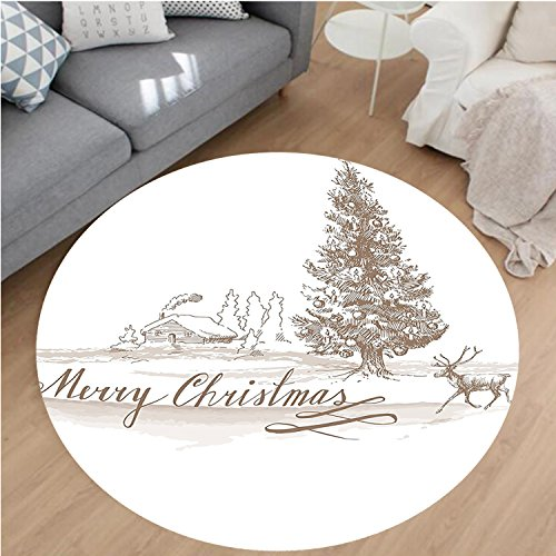 Nalahome Modern Flannel Microfiber Non-Slip Machine Washable Round Area Rug-omantic Vintage Merry Christmas Scene with Reindeer Tree Star Holy Religious Design Brown area rugs Home Decor-Round 71'' by Nalahome