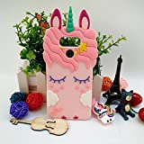 Jinxtech Pink Unicorn Shaped Adorable 3D Cute Cartoon Character Soft Rubber Silicone Case with a Strap for LG G6,LG G6+(5.7 Inch)(Pink Unicorn)