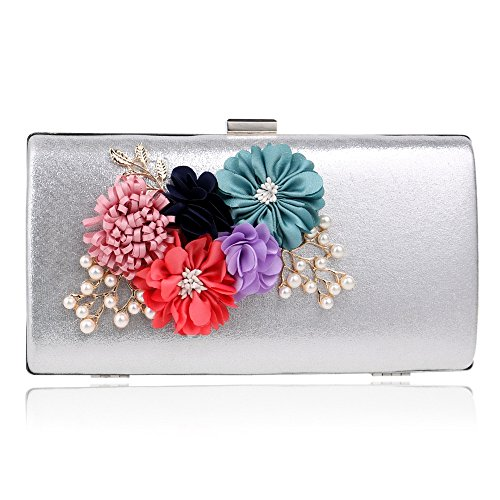 Bags Clutches Bags The Pattern Bags Appliques Wedding The Women Day silver Evening Dinner Chain KYS Flowers OxPtw6HqW