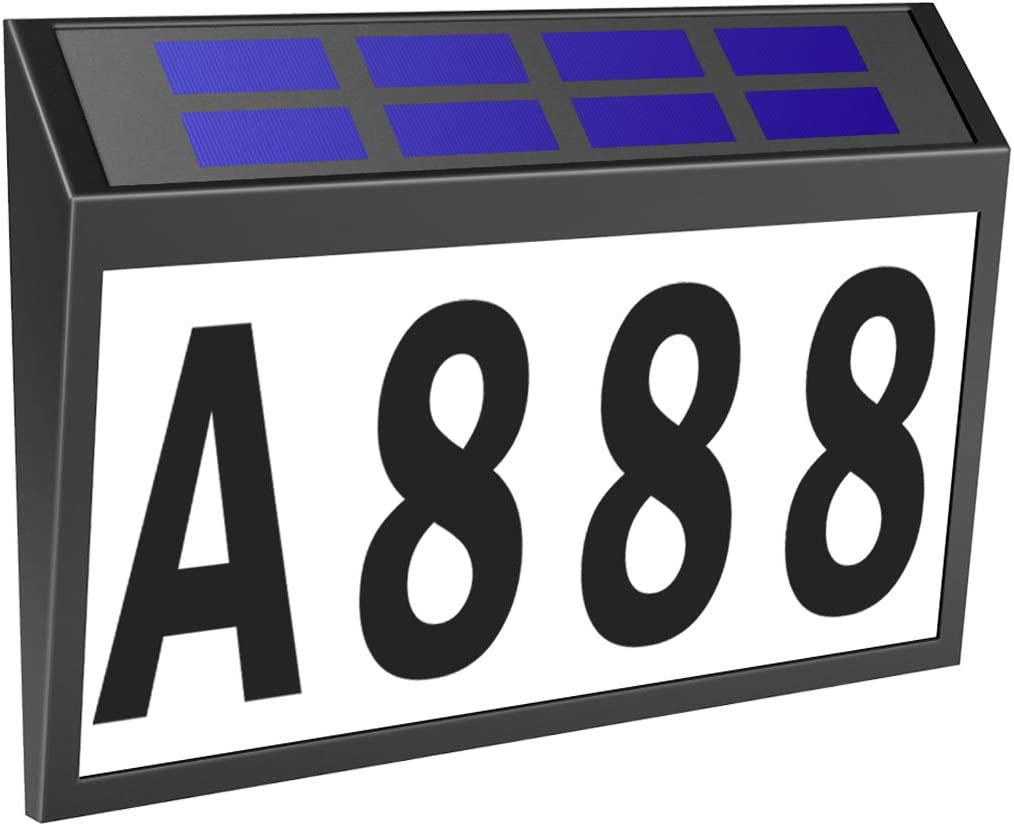 Solar House Number Light, T-SUNUS Lighted House Numbers Sign Plaque Address Numbers for Houses Waterproof LED Solar Powered Address Sign for Houses Mailbox Street Yard
