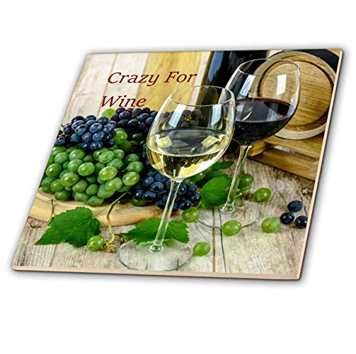 3dRose lens Art by Florene - Crazy For Different Drinks - Image of Crazy For Wine With Wine Glasses And Grapes - 4 Inch Ceramic Tile (ct_309822_1)