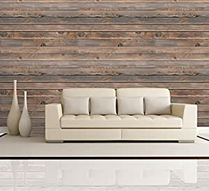 Wall26 horizontal brown vintage and retro for Removable wallpaper wood paneling