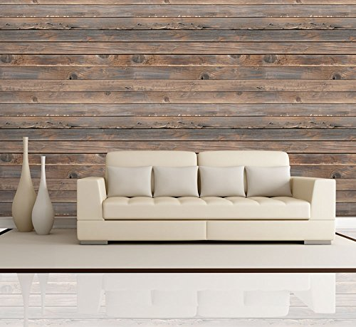 Wall26 - Horizontal Brown Vintage and Retro Wood Textured Paneling - Wall Mural, Removable Wallpaper, Home Decor - 100x144 inches Self Stick Murals