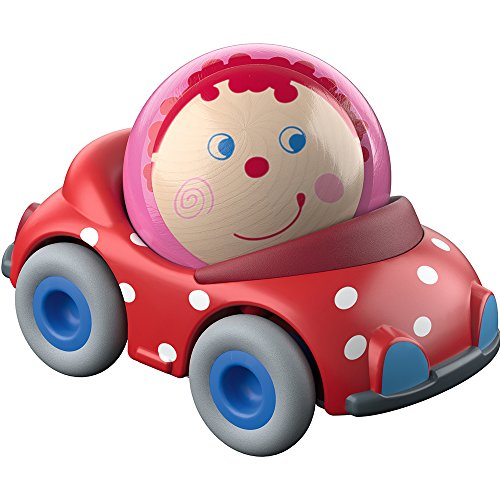 - HABA Kullerbu Pauline's Convertible Ball Car - Red Polka Dot Vehicle with Cheerful Wooden Ball Driver - Can be Enjoyed with or without the Kullerbu Track System - Ages 2+
