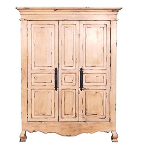 Rustic 2 Door Heirloom Armoire Creme Finish