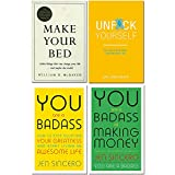 Books : Make your bed [hardcover], unfck yourself, you are a badass, you are a badass at making money 4 books collection set