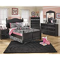 Jaidyn Youth Wood Poster Bed Room Set in Rich Black Finish, Full Bed, Dresser, Mirror, 2 Nightstands