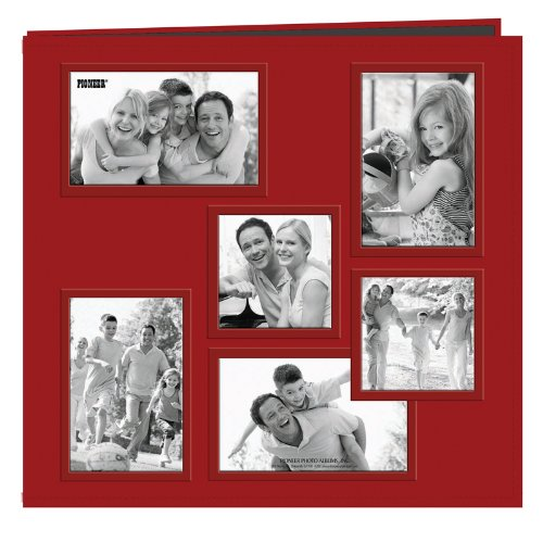 Pioneer Photo Albums Collage Frame Embossed Sewn Leatherette Cover Memory Book, 12 by 12-Inch, Red