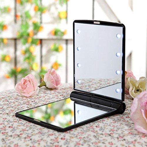 Petit miroir de rasage de voyage compact pliant Make Up miroir de poche avec 8LED pour femmes