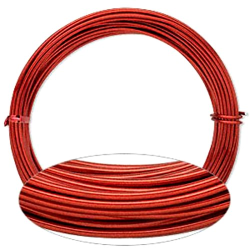 Anodized Aluminum Ornament (Red Aluminum Wire 12 Gauge Round Wrapping Jewelry Craft 45 Foot Coil (Red))