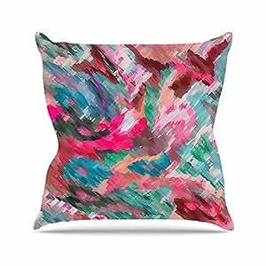 """KESS inhouse ac1101aop0318x 45,7""""Alison Coxon Giverny Verde y Rosa Peach"""" Cojín Manta de exterior, multicolor"""