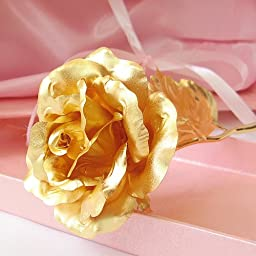 KDLINKS 24K 6 Inch Gold Foil Rose, Best Valentine\'s Day Gift, Handcrafted and Last Forever! - Double Size Rose Flower + Free Gift Card