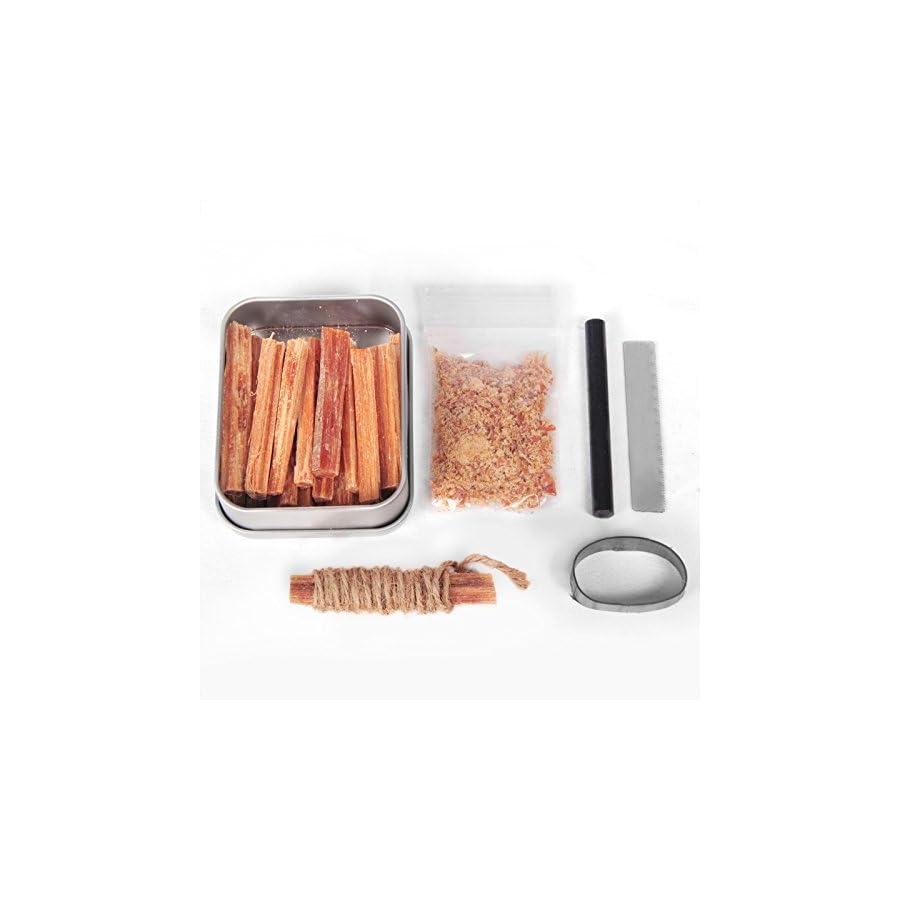 Fatwood 100% Natural Firestarter Sticks Hand Cut In The USA Ferro Rod Ferrocerium Flint Jute Fatwood Chips Striker Tin Container Survival Emergencies Camping Steve Kaeser since 1989
