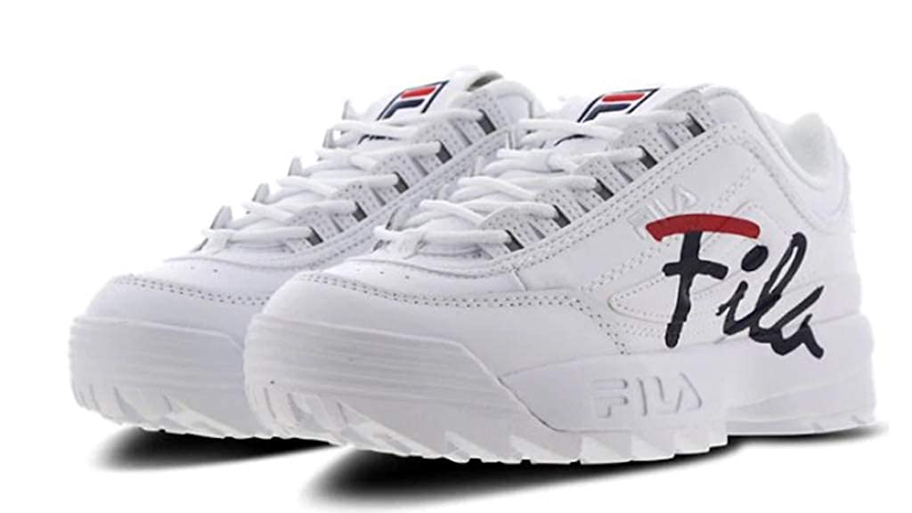 White Navy Red Fila Women's Disruptor II Premium Sneakers