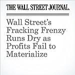Wall Street's Fracking Frenzy Runs Dry as Profits Fail to Materialize | Bradley Olson,Lynn Cook