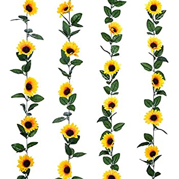 Lvydec 4 Pack Artificial Sunflower Garland - Silk Sunflower Vine Artificial Flowers Garland with Green Leaves for Wedding Party Table Decoration