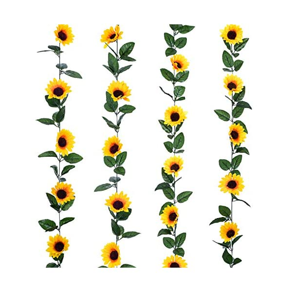 Lvydec 4 Pack Artificial Sunflower Garland – Silk Sunflower Vine Artificial Flowers Garland with Green Leaves for Wedding Party Table Decoration