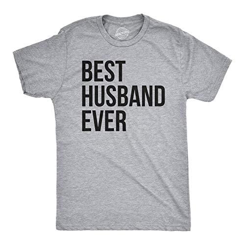 Mens Best Husband Ever T Shirt Funny T Shirts for Dad Sarcasm Wedding (Grey) L