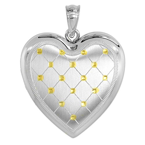 Sterling Silver Heart Locket Necklace 4 Picture Gold Quilt, 16 inch Boston Chain
