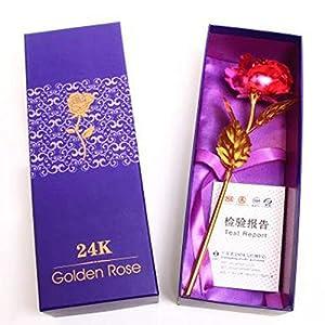 Bluefringe Gloden Rose Valentine Wedding Mothers Day Gold Foil Artificial Flower Gift for Girlfriend/Wife (Rose Pink/Red/Purple/Gold/Blue) 19