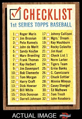 1962 Topps # 22 ERR Checklist 1 (Baseball Card) (Lists Cards 121 to 176 on the Back) Dean's Cards 4 - VG/EX