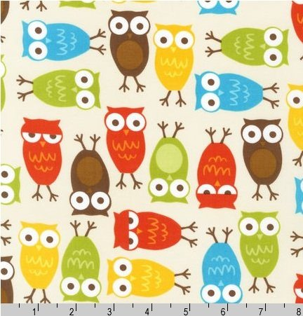 Urban Zoologie Autumnal Owls on Cream Ann Kelle Fabric Two Yards (1.8m) 10348-237 Bermuda