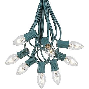 Novelty Lights C7 Clear Christmas Lights Set - Indoor/Outdoor Christmas Light String - Christmas Tree Lights - Hanging Christmas Lights - Outdoor Patio String Lights - Green Wire - 25 Foot