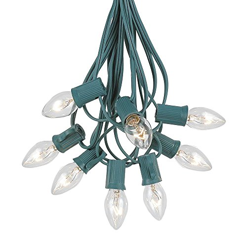 Novelty Lights C7 Clear Christmas Lights Set - Indoor/Outdoor Christmas Light String - Christmas Tree Lights - Hanging Christmas Lights - Outdoor Patio String Lights - Green Wire - 25 Foot