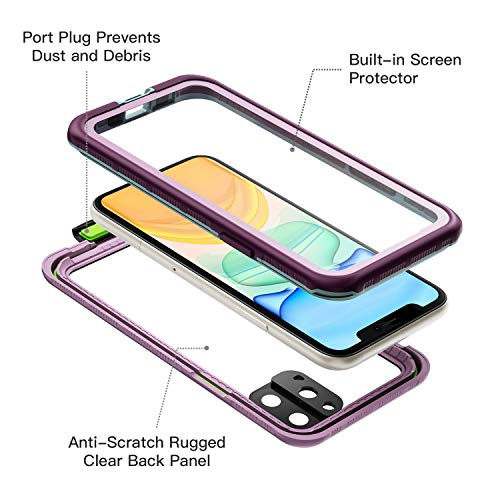 iPhone 11 Pro Max Waterproof Case (6.5 inch) , Full Sealed Rugged with Clear Sound Quality Waterproof/Shockproof/Snowproof/Dustproof , High Sensitive Touch Screen For iPhone 11 Pro Max (Purple)