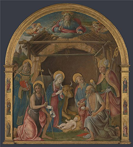 Oil Painting 'Pietro Orioli The Nativity With Saints ' Printing On High Quality Polyster Canvas , 10 X 11 Inch / 25 X 28 Cm ,the Best Foyer Decoration And Home Gallery Art And Gifts Is This High Definition Art Decorative Prints On Canvas