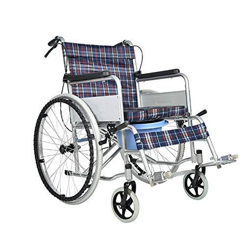 NANANA Wheelchair Ultra Lightweight Folding Transit Transport with Toilet Seat, Seat Width 46 cm,Red
