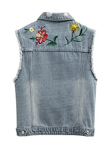 b560a11c1bde0c CYSTYLE 2018 Damen Stickerei BF Stil Ausfransen Weste Jacke Ärmellos  Einfache Beiläufige Jeansweste: Amazon.de: Bekleidung